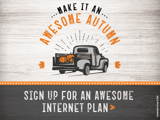 Make it an awesome autumn. Sign up for an awesome internet plan.